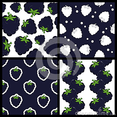 Blackberry or Mulberry Seamless Patterns
