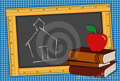 Blackboard, Books, Apple, Schoolhouse