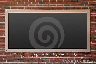 Blackboard on brick wall