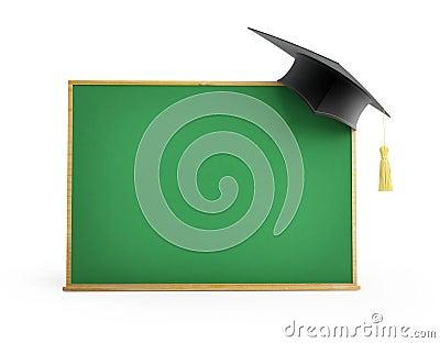 Blackboard, chalkboard, graduation cap 3d Illustrations