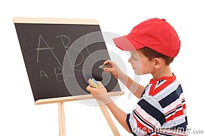 Blackboard and child