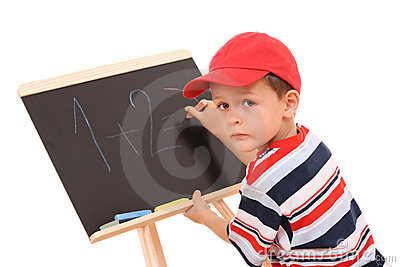 Blackboard and child