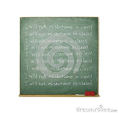 Blackboard with a discipline message written on it