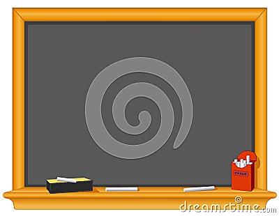Blackboard, Eraser and Box of Chalk.