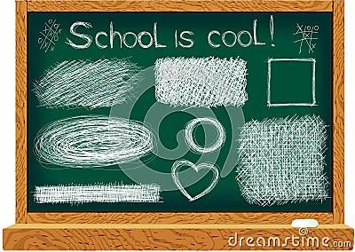 Blackboard with line drawings