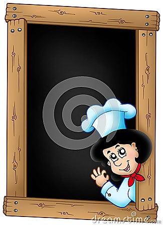 Blackboard with lurking woman chef