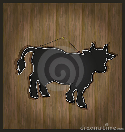 blackboard menu cow bull