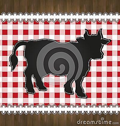 Blackboard menu tablecloth lace cow bull