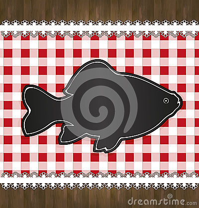 Blackboard menu tablecloth lace fish