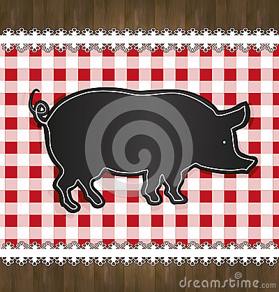 Free Blackboard Menu Tablecloth Lace Pig Stock Photography - 30344702