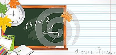 Blackboard and school accessories. Back to school