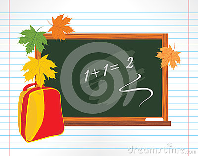 Blackboard and school backpack with maple leaves