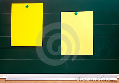 Blackboard with sticky notes