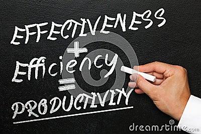 Blackboard with text effectiveness, efficiency and productivity Cartoon Illustration