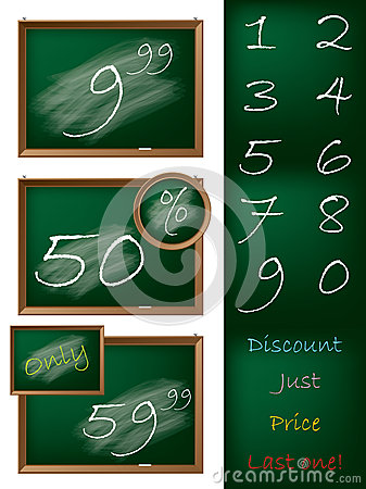 Blackboard theme shopping label set