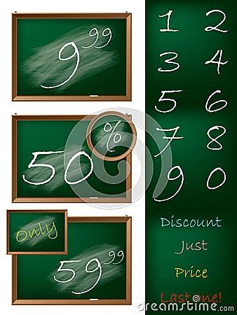 Blackboard theme shopping label set