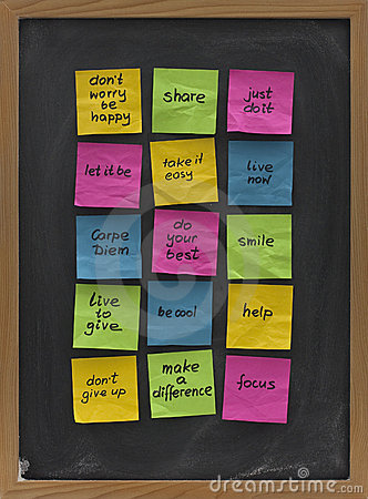 Free Blackboard With Motivational Reminders Royalty Free Stock Image - 9433476