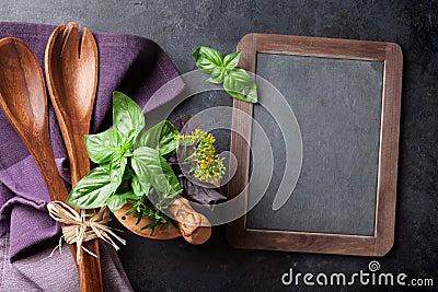 Blackboard for your text, garden herbs Stock Photo