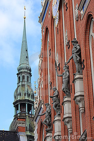 Blackheads house and Dome Church in Riga