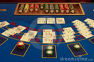 Blackjack table in casino with cards