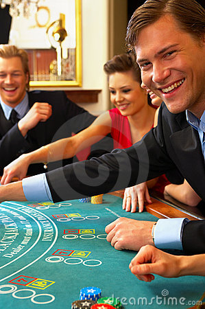 Blackjack Table. Friends Havin