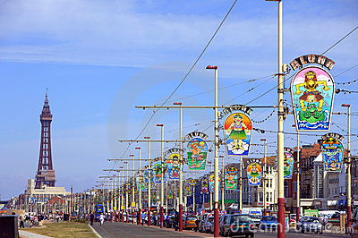 Blackpool promenade with tower Editorial Stock Photo