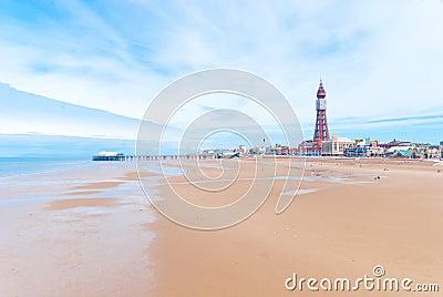 Blackpool sjösida Redaktionell Foto
