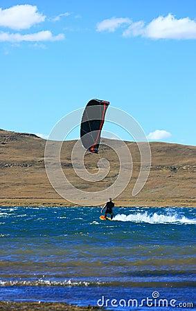 Free Blackred Kitesurfer Cruising Stock Images - 2360824