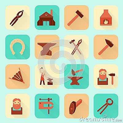 Free Blacksmith Icons Set Stock Images - 41638514