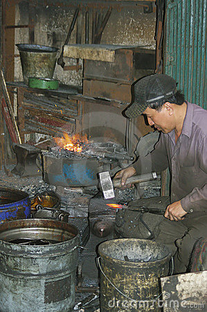 Blacksmith in town Editorial Stock Image