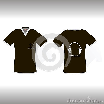 Blak t-shirt with original headphones design