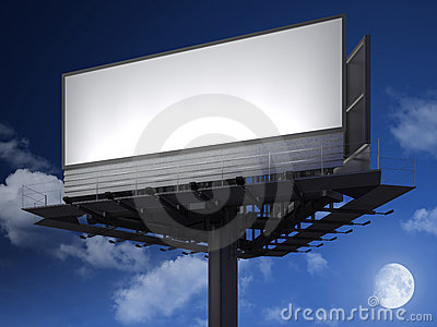 Blanck billboard at night