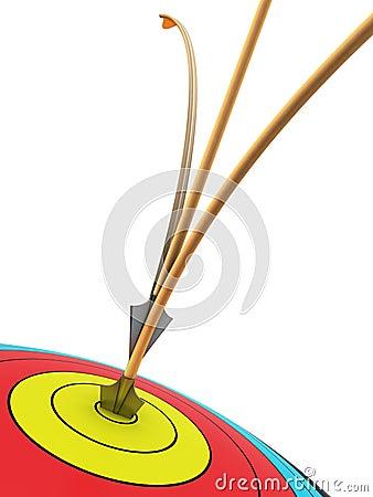 Blanco del tiro al arco con dos flechas