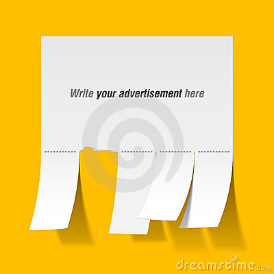 Blank advertisement with cut slips