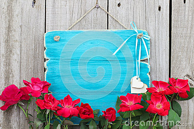 Blank Antique Teal Blue Sign With Red Flower Border And