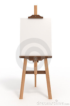 Blank art board, easel, with clipping path