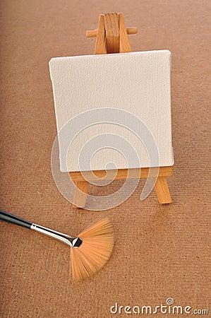 Blank art board, wooden easel