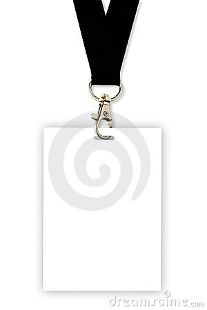 Blank badge with black neckband