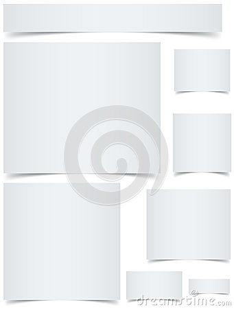 Blank banners with curled edges