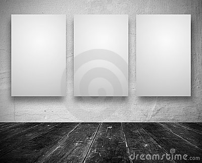 Blank banners in a old dark room