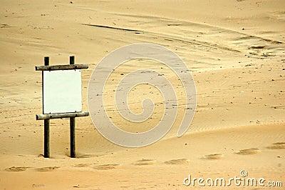 Blank beach sign