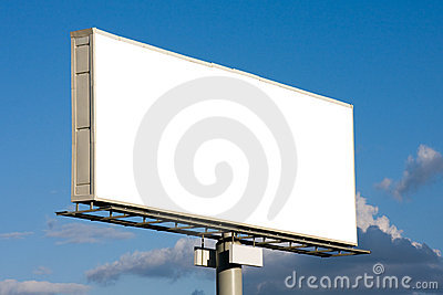 Blank billboard on blue sky