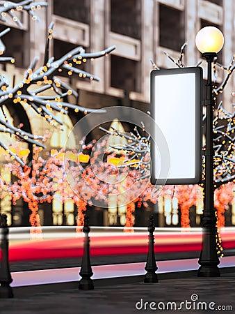Blank billboard at christmas illuminated street.