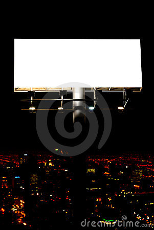 Blank billboard and city