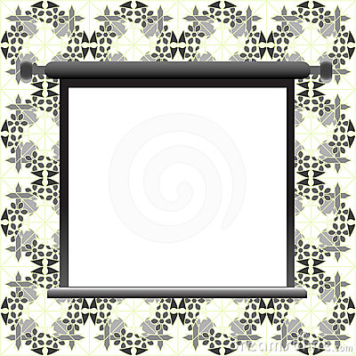 Blank billboard on floral wall