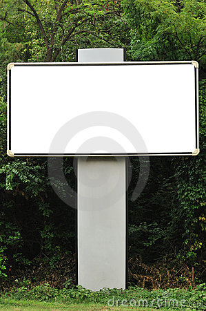 Blank billboard and trees