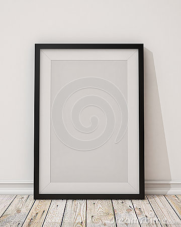 Blank black picture frame on the wall and the floor Cartoon Illustration