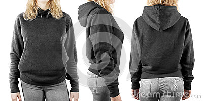 Blank black sweatshirt mock up set isolated, front, back and side view Stock Photo