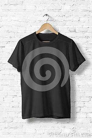 Free Blank Black T-Shirt Mock-up Hanging On White Wall, Front Side View. Royalty Free Stock Photos - 102475348