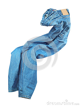 Free Blank Blue Jeans Are Falling Through The Air Royalty Free Stock Images - 74852499